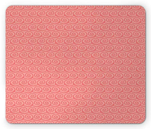 Drempad Gaming Mauspads Custom, Sea Mouse Pad, Swirled Spiral Ocean Waves Inspired Abstract Style Aquatic Theme Soft Sunset View Colors, Standard Size Rectangle Non-Slip Rubber Mousepad, Coral -