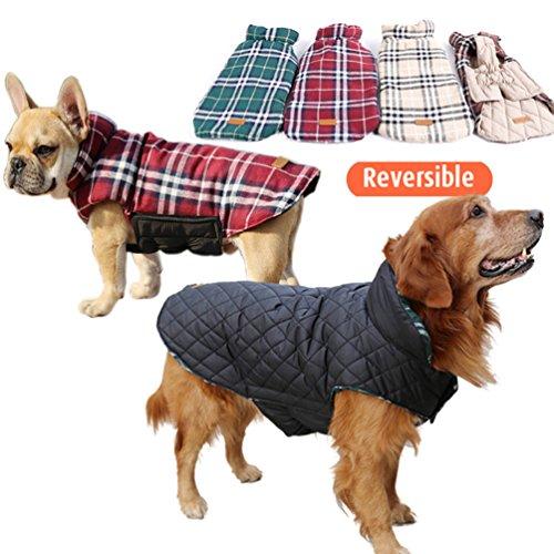 Designer Hund Kleidung - Wasserdicht wendbar Hund Jacke Designer Plaid
