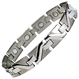 MPS® ADURO Silver Titanium Magnetic Bracelet + Free Link Removal Tool