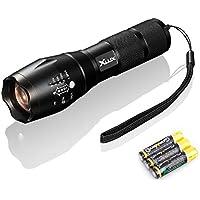 XLUX F40 - Linterna, muy brillante, LED, enfoque ajustable, pilas incluidas