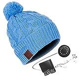 HK Music Headset Beanie Bluetooth | Mütze Funkkopfhörer Stereo-Lautsprecher-Mikrofon Wireless Cap | kompatibel mit Smartphone,Blue