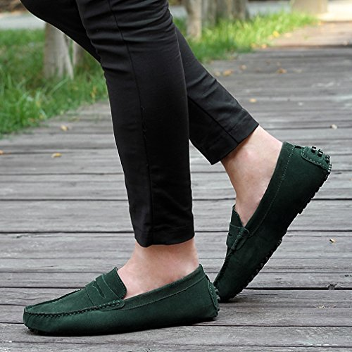 Mens Minitoo rayures Multicolore chaud Chaussons mocassins en daim pour chaussures bateau Loafers green