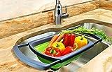 Tofree Faltbarer Obstkorb aus Silikon Küche dehnbar faltbar faltbar für Obst und Gemüse Sieb mit Spülengriff
