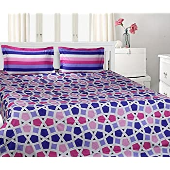 Trident Designer Solid,Traditional,Geometric 100% Cotton Double Bed sheet With 2 Pillow Covers - Intersction ||