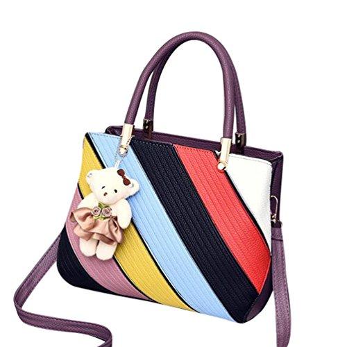 Baymate Mode Tasche Damen Handtasche Bunt Stil Kunstleder Schultertasche Stil 5