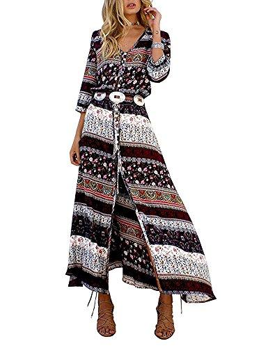 Minetom Damen Kleid Vintage Print V-Ausschnitt Boho Schlitz Kleid Maxi Kleid Strandkleid Dress mit Knopfleiste Dress Prom Braun DE 44 (Tee V-neck Schlitz)