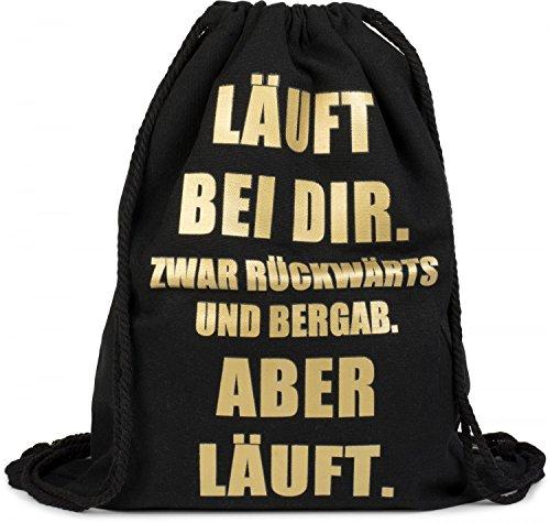 styleBREAKER Statement Turnbeutel mit 'LÄUFT BEI DIR' Aufdruck, Rucksack, Sportbeutel, Beutel, Unisex 02012145, Farbe:Schwarz