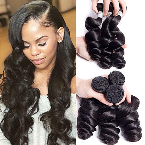 Maxine 10a Loose Wave Remy Virgin Human Hair Unprocessed Hair Weave Pack of 3 Hair Extensions Natural Color (22 22 22inch)