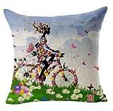 Bestyou Blumenkissenbezüge Leinen Baumwolle gedruckt Von Vintage Sofa-Kissen Kopfkissenbezug Bike + Mädchen