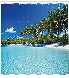 Abakuhaus Duschvorhang, Relax Beach Resort Spa und Palmen Strand Ferien Klarer Sonniger Tag Klares Wasser Foto Druck, Blickdicht aus Stoff inkl. 12 Ringen Umweltfreundlich Waschbar, 175 X 200 cm