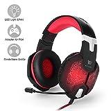 PC&PS4 Gaming Headset, marsboy Gaming Kopfhörer mit Mikrofon LED Effekt für PS4 PC Film Gaming Spielen Chat Musik Best Weihnachtsgeschenk Rot.