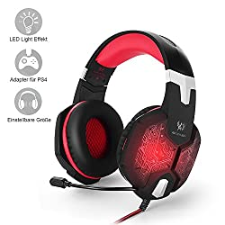 PC&PS4 Gaming Headset, marsboy Gaming Kopfhörer mit Mikrofon LED Effekt für PS4 PC Film Gaming Spielen Chat Musik Rot.