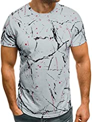 Men Short Sleeve Casual Tops, Male Summer Fashion Printing Elastic T-shirt Blouse Shirt Tuinic Tops