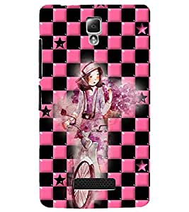 PrintDhaba Girl bicycling D-4165 Back Case Cover for LENOVO A2010 (Multi-Coloured)