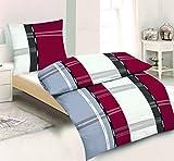 2tlg Winter Set di biancheria da letto in pile microfibra 135x 200cm + 80cm x 80cm Nuovo strisce bianco grigio rosso