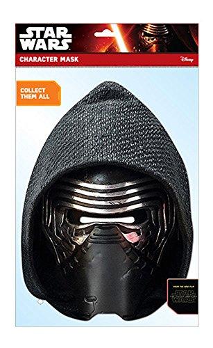 Star Wars - EP7 Kylo Ren Papp Maske, aus hochwertigem Glanzkarton mit Augenlöchern, Gummiband - Größe ca. 30x20 cm