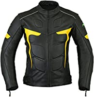Mens RIDEX LJ-2Y Biker Motorbike Motorcycle Leather Jacket CE Armours (X-Large)