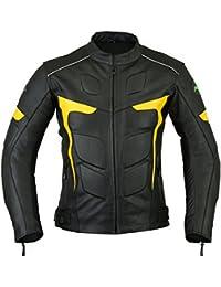 Mens RIDEX LJ-2Y motorista moto motocicleta chaqueta de piel Protecciones CE