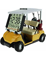 crestgolf Mini reloj despertador, de golf buggy de golf en miniatura, amarillo