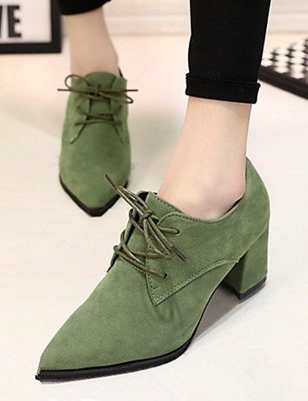 NJX/ hug Zapatos de mujer-Tacón Robusto-Comfort / Puntiagudos-Tacones-Oficina y Trabajo / Vestido-Semicuero-Negro...