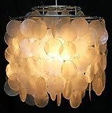 Guru-Shop Deckenlampe/Deckenleuchte Dominga, Muschelleuchte aus Hunderten Capiz, Perlmutt-Plättchen, Muschelscheiben, 30x30x30 cm, Oceanlights Muschelleuchten
