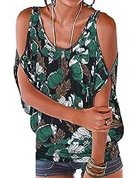 403336ec9e0 ITISME T-Shirt Femme Sexy Été Haut Batwing Impression Manche Courtes Femmes  épaules Dénudées Grande Taille Casual Top Blouse Tee…
