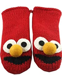 Sesame Street Nepalese Mittens 100% Wool Hand Made Adult Size - Elmo