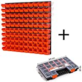 104 teiliges Wandregal Lagerregal Werkzeugwand 100 Stapelboxen orange POP Serie Gr.1 + 4 Wandplatten + Organizer