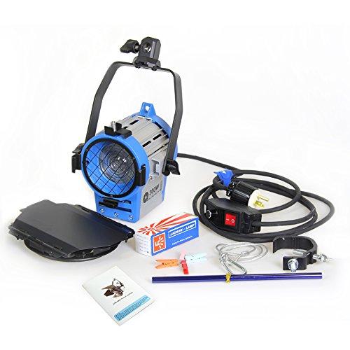 Alumotech 300 vatios Fresnel Tungsteno Foco Lámpara Atenuador Incorporado Cable Atenuación Studio Video Luz para la cámara de Iluminación Compatible + Globos + Barndoor