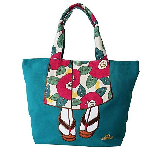 Damen Segeltuch Reisetasche Schultertasche Kombinieren Kimono-Rock mit Hausschuhen für Frauen Mädchen Urlaub Bibliothek, Strand Einkaufen und mehr blau - Kimono-tasche Geldbörse