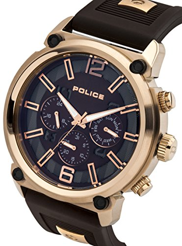 Police Armor Men's Quartz Watch with Brown Dial Chronograph Display and Brown Silicone Strap 14378JSR/12P