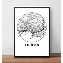 Affiche Toulon Minimalist Map (A4, A3, A2) - City Map, Poster de Toulon, Plan de ville, Impression d'Art, Création originale handmade
