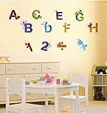 Adesivo da muro – Tatuaggi a muro per camerette bambini, saloni, camerette, camera per bambini - Decorazione murale moderna – Set adesivi decorativi da muro 2 x 70x50cm Lettere E Numeri
