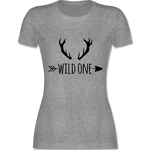 Boheme Look - Wild One Hirschgeweih - tailliertes Premium T-Shirt mit Rundhalsausschnitt für Damen Grau Meliert