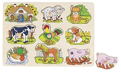 Goki 57895 - Steckpuzzle - Tierstimmen Bauernhof