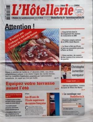 HOTELLERIE (L') [No 2866] du 01/04/2004 par COLLECTIF