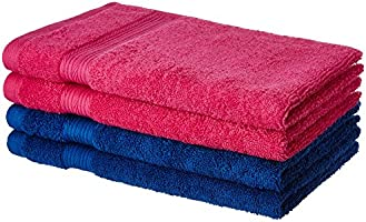 Solimo 4 Piece 500 GSM Cotton Hand Towel Set - Iris Blue and Paradise Pink