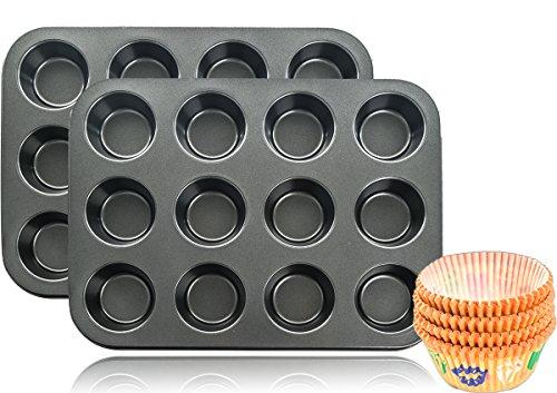 2x 12er Backblech Backform Muffinform für insgesamt 24 Muffins + 100 Papierförmchen GRATIS