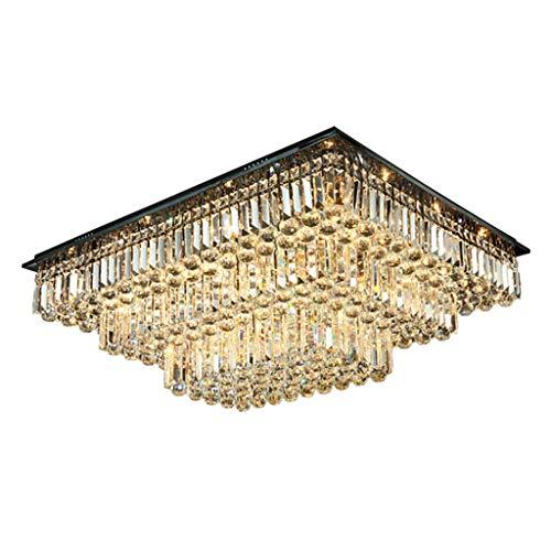 Rudergerät quadratische Kristall Wohnzimmerlampe Schlafzimmerlampe Restaurantbeleuchtung Deckenlampe (Color : Black, Size : 70 * 70 * 38cm)