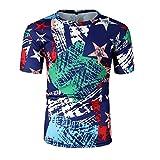 MOTOCO Herrens Casual Hawaii T-Shirt Hemden Funky 3D Printed Kurzarm Bunte Hawaii Shirts | Herren Kurzarm | O-Ausschnitt | Hawaiian-Print | Strandpalmen Sommer(M,Blau-2)