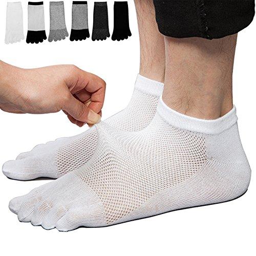 REKYO 6 Männer-Zehe Socken fünf Finger Socken Baumwolle weich und atmungsaktiv Low-Cut-Socken für Männer (Gemischt)