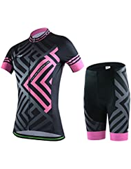 Skysper Maillot de Cyclisme Manches Courtes + Cuissard VTT Respirant Vêtements de Cyclisme pour Homme/ Femme(Modèles Féminins Roses)
