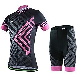 Skysper Mujer Jersey + Pantalones cortos Mangas cortas de Ciclismo Ropa Maillot Transpirable para Deportes al aire libre Ciclo Bicicleta