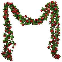 Cratone - Guirnalda de Flores Artificiales de 1 Ramo con Hojas Verdes para Colgar en la