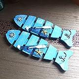 VIOY Pez Decorativo de Gancho de Pared Colgante de Madera Perchero Pared Retro Detrás del Porche de la Puerta,Azul,Una Talla