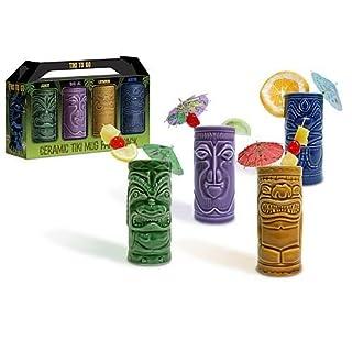 (4) - Accoutrements 4 Tiki Tumblers Ceramic Hawaiian Luau Party Mugs Glasses