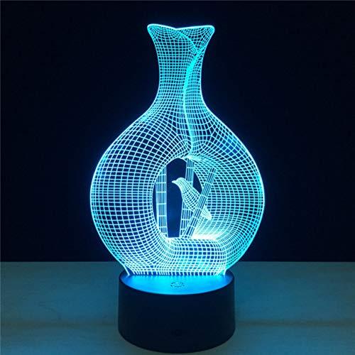 OEWFM 3D Nachtlicht 7 Farbwechsel Rot Grün Blau Gelb Cyan Lila Weiß Ändern LED Vogel Lampe USB Vogelkäfig Nachtlicht Touch Button