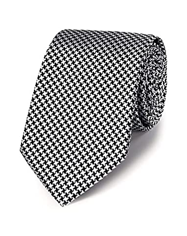 Black Silk Classic Puppytooth Tie by Charles