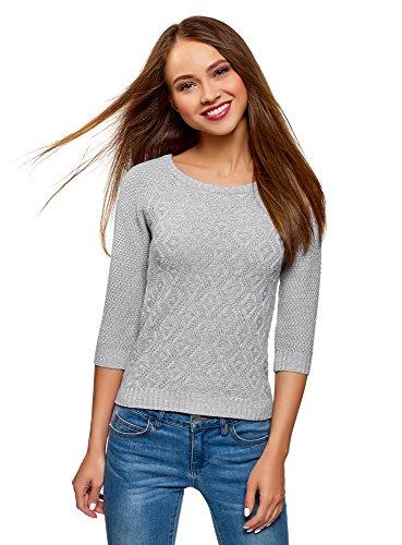 oodji Ultra Damen Pullover mit Geometrischem Muster und 3/4-Ärmeln, Grau, DE 42/EU 44/XL