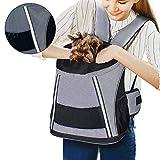 Mochila Perro Gato Pequeños Reflectante Resistente Pet Backpack Plegable Transportín Respirable para Viaje Trekking Moto Avión Entrenar con Mascota Peso de hasta 6.5 kg (Gris)